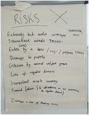 Flipchart with handwritten risks from group session
