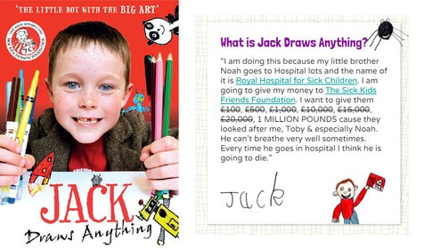 Jack Draws Anything: book cover and website message