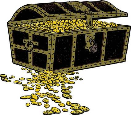 Old treasure chest spilling money